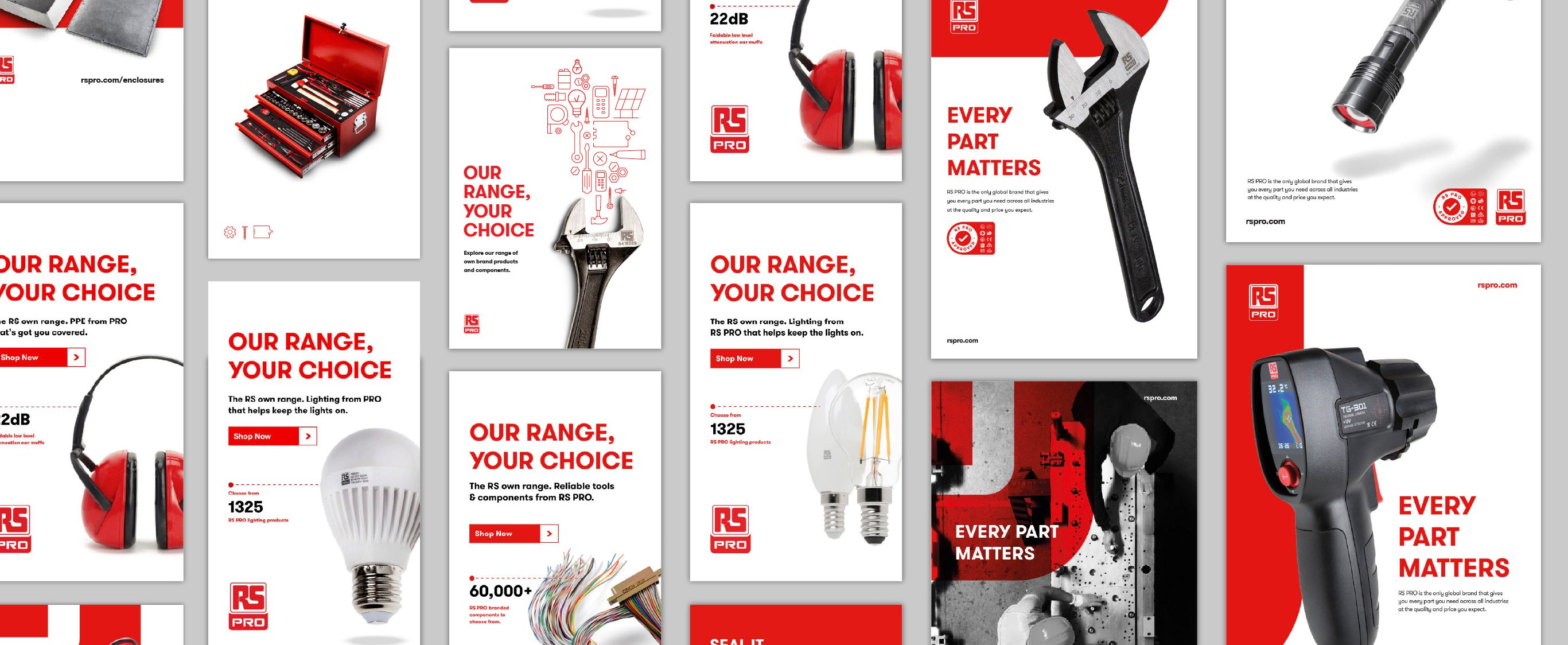 RS PRO branding applied to a huge range of marketing material