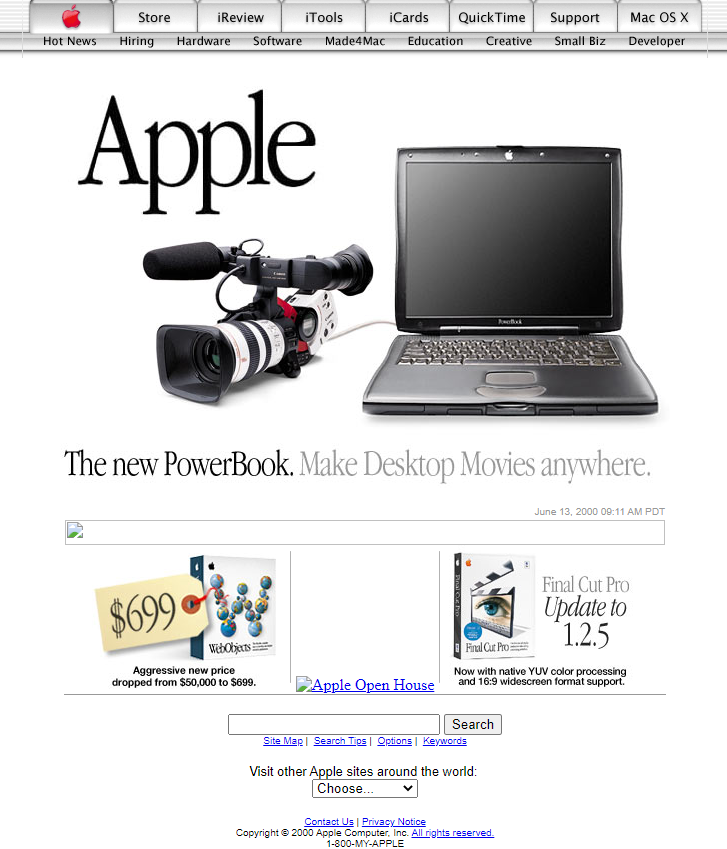 Apple Website from 1990s