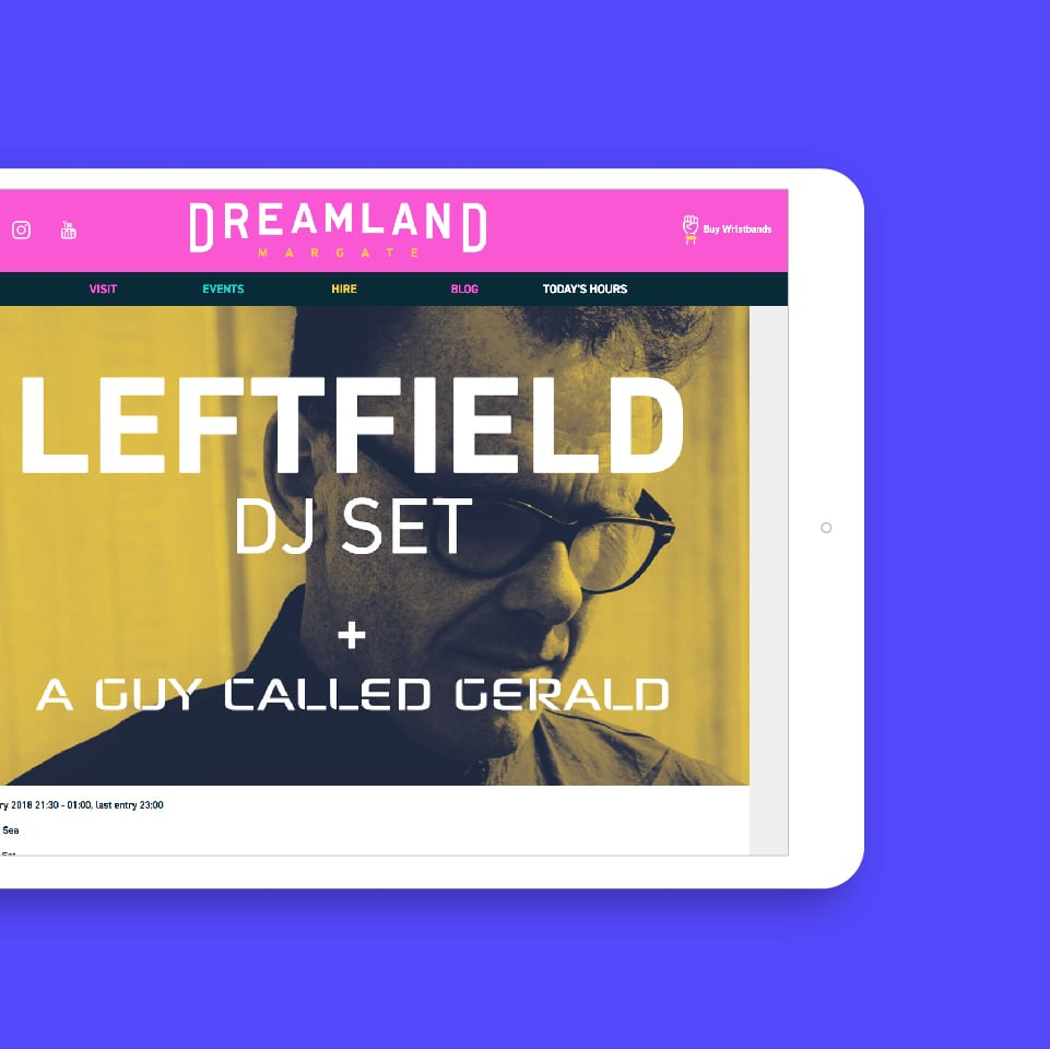 Dreamland website on ipad
