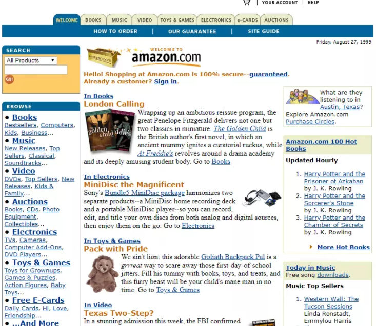 Amazon Site from 1999